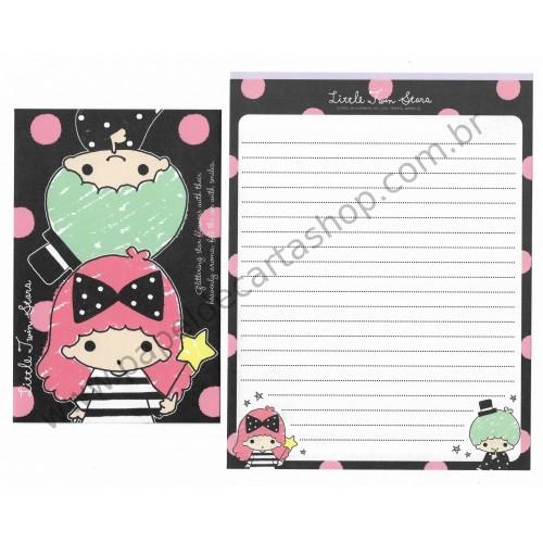 Ano 2014. Kit 2 Conjuntos de Papel de Carta Little Twin Stars RSVD Sanrio