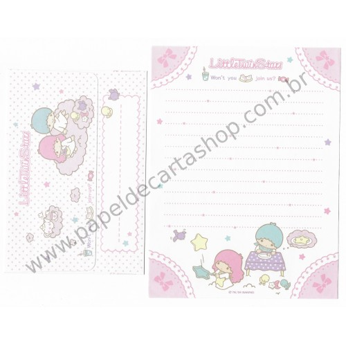 Ano 2004. Conjunto de Papel de Carta Little Twin Stars Join Us Sanrio