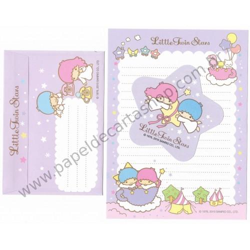 Ano 2010. Conjunto de Papel de Carta Little Twin Stars CLL Sanrio