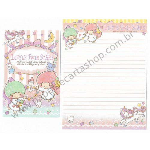 Ano 2015. Kit 2 Conjuntos de Papel de Carta Little Twin Stars Pearls and Seashells Sanrio