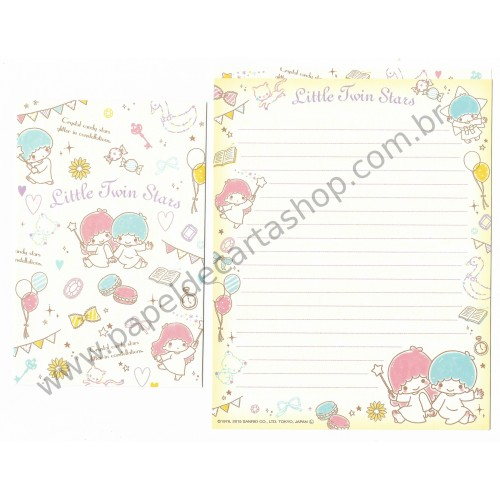 Ano 2015. Kit 2 Conjuntos de Papel de Carta Little Twin Stars Cristal Candy Stars Sanrio