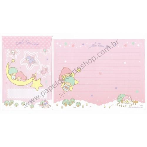 Ano 2009. Conjunto de Papel de Carta Little Twin Stars Kiki&Lala Sanrio