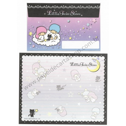 Ano 2006. Conjunto de Papel de Carta Little Twin Stars Black Sanrio