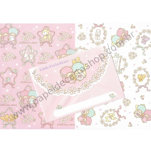 Ano 2010. Conjunto de Papel de Carta Little Twin Stars Twinklestar Wood Sanrio