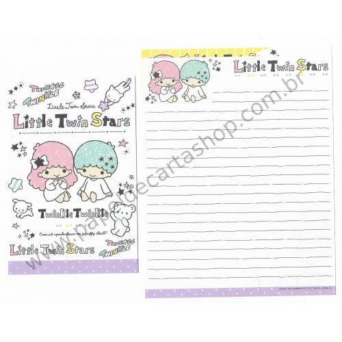 Ano 2014. Kit 2 Conjuntos de Papel de Carta Little Twin Stars Upside Down Sanrio