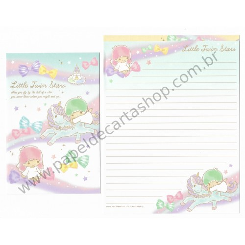 Ano 2014. Kit 2 Conjuntos de Papel de Carta Little Twin Stars Flying By the Tail of a Star Sanrio