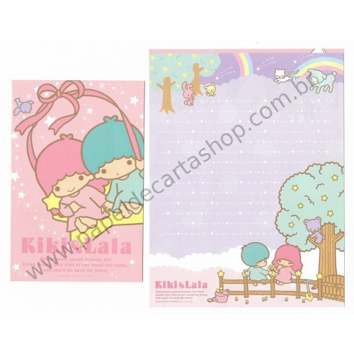 Ano 2009. Kit 2 Conjuntos de Papel de Carta Little Twin Stars Cloud-Top Home Sanrio