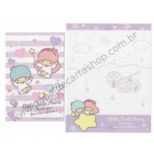 Ano 2009. Conjunto de Papel de Carta Little Twin Stars K5 Sanrio