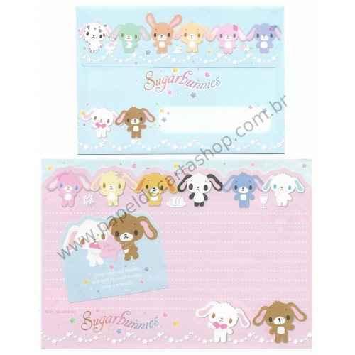 Ano 2008. Conjunto de Papel de Carta Sugarbunnies Twins are Terrific Sanrio