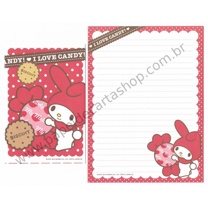 Ano 2010. Conjunto de Papel de Carta My Melody Strawberry Sanrio