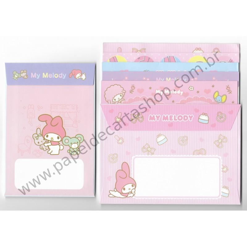 Ano 2010. Kit 3 Conjuntos de Papel de Carta My Melody Sanrio