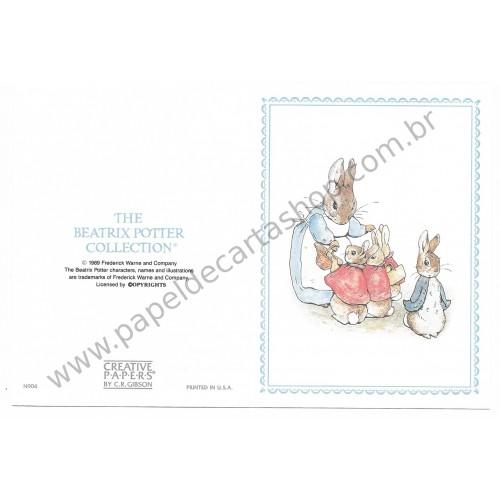 Cartão ANTIGO COM ENVELOPE Peter Rabbit