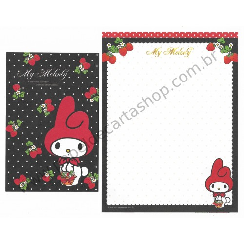Ano 2012. Conjunto de Papel de Carta My Melody Delicious Strawberries BL Sanrio