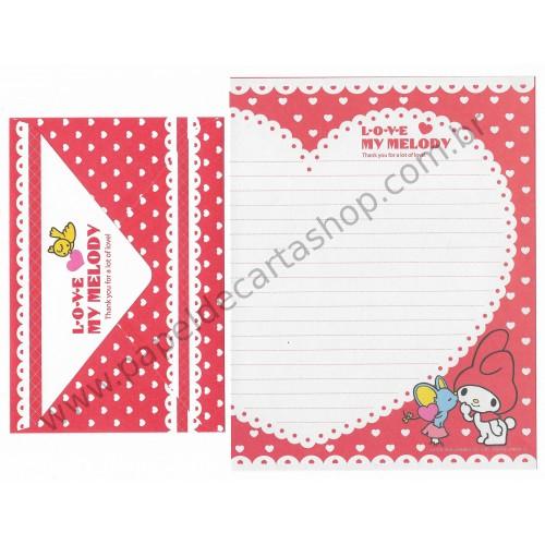 Ano 2010. Conjunto de Papel de Carta My Melody Love CVM Sanrio