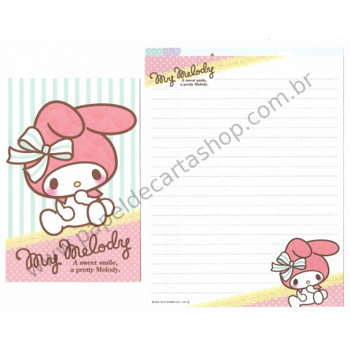 Ano 2012. Kit 2 Conjuntos de Papel de Carta My Melody Ribbon Sanrio