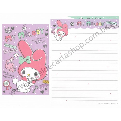 Ano 2014. Kit 2 Conjuntos de Papel de Carta My Melody Hello My Friend Sanrio