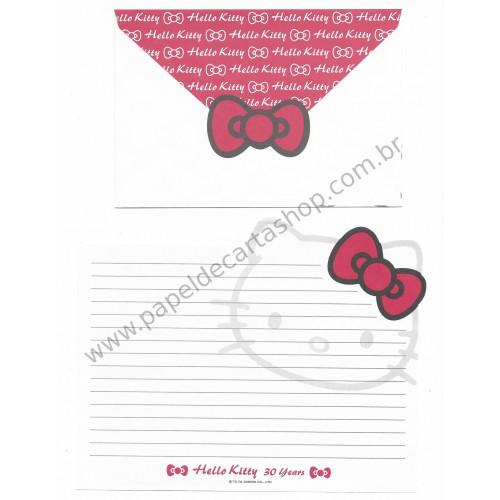 Ano 2004. Conjunto de Papel de Carta Hello Kitty - 30th Anniversary