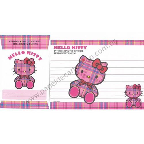 Ano 2009. Conjunto de Papel de Carta Hello Kitty Tartan 35th Anniversary Sanrio