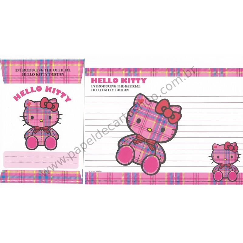 Ano 2009. Conjunto de Papel de Carta Hello Kitty Tartan 35th Anniversary Sanrio