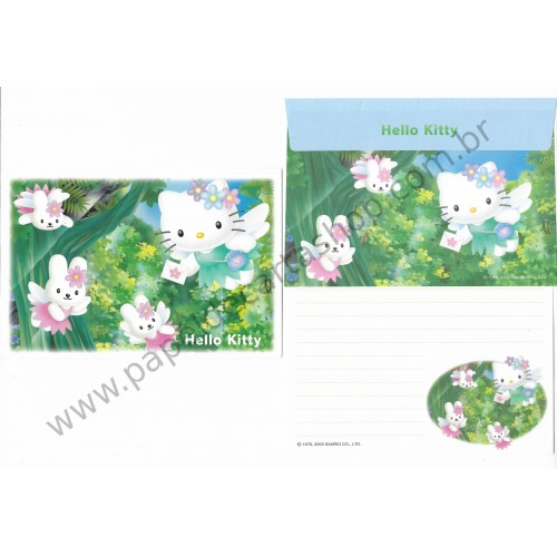 Ano 2003. Conjunto de Papel de Carta Hello Kitty Regional Post Angel Sanrio