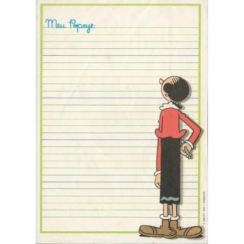 Ano 1986. Papel de Carta Antigo Meu Popeye POW1