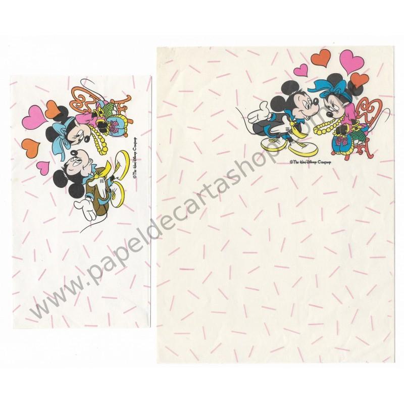 Conjunto de Papel de Carta Antigo Disney Mickey & Minnie - Soft Paper