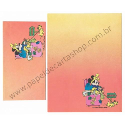 Conjunto de Papel de Carta Antigo Disney Minnie Aeroporto - Soft Paper