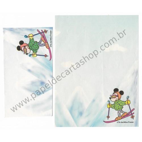 Conjunto de Papel de Carta Antigo Disney Minnie Ski - Soft Paper
