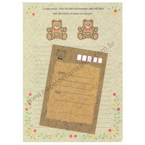 Conjunto de Papel de Carta Antigo (Vintage) Teddy Bear - Japan