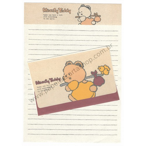 Conjunto de Papel de Carta Antigo (Vintage) Hearty Teddy