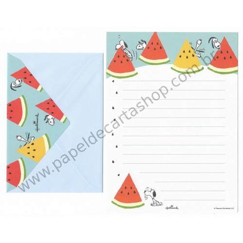 Conjunto de Papel de Carta Snoopy Watermelon - Vintage Peanuts Hallmark