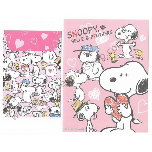 Ano 2012. Conjunto de Papel de Carta Snoopy Belle & Brothers - Peanuts Delfino Japan