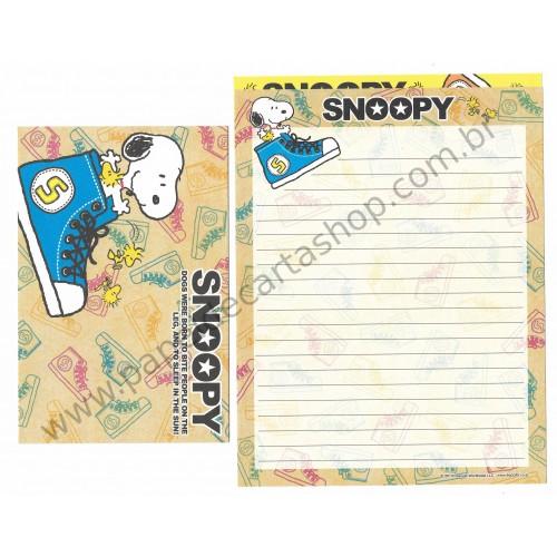 Kit 2 Conjuntos de Papéis de Carta Snoopy Shoes - Peanuts Japão 2013