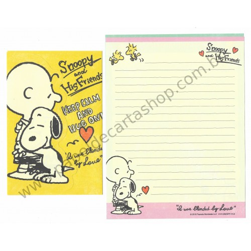 Conjunto de Papel de Carta Snoopy Keep Calm and Hug On CAM - Peanuts Japão 2015