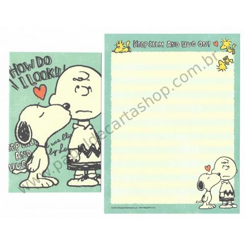 Conjunto de Papéis de Carta Snoopy Keep Calm and Hug On (CVD) - Peanuts Japão 2015