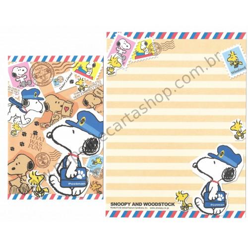 Conjunto de Papel de Carta Snoopy Postman - Peanuts Kamio Japão