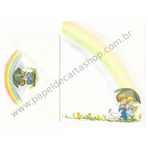 Conjunto de Papel de Carta Antigo Importado Little Rainbows Phacos