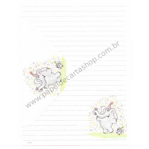 Conjunto de Papel de Carta Antigo Coleção Kartos - Elefante 1
