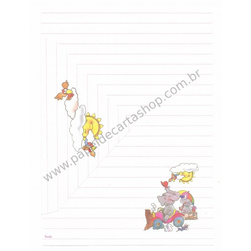 Conjunto de Papel de Carta Antigo Coleção Kartos - Elefante 2