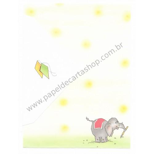 Conjunto de Papel de Carta Antigo Coleção Kartos - Elefante 4