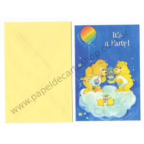 Cartão ANTIGO COM ENVELOPE Ursinhos Carinhosos P2