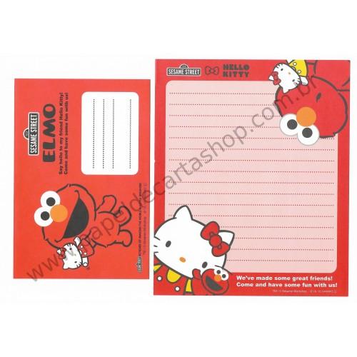 Ano 2010. Kit 4 Conjuntos de Papel de Carta Hello Kitty & Sesame Street CVM Sanrio