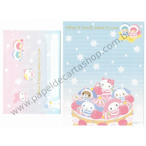Ano 2009. Conjunto de Papel de Carta Sanrio Characters Warm Wishes for You