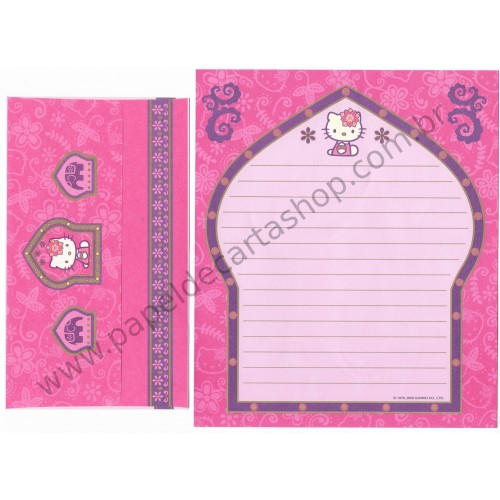 Ano 2000. Conjunto de Papel de Carta Kitty Indiana Sanrio