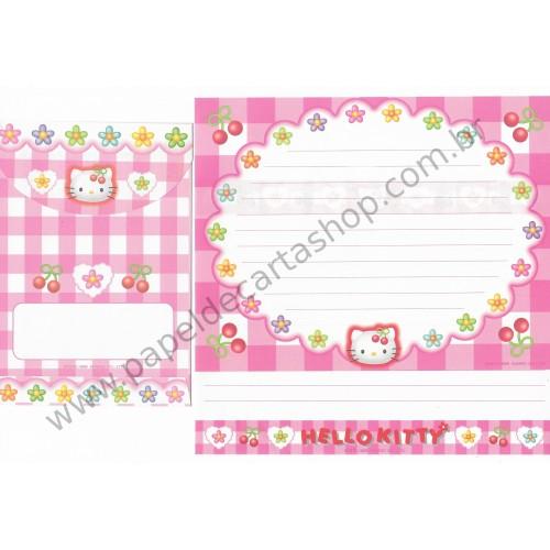 Ano 1998. Conjunto de Papel de Carta Hello Kitty Xadrez (Vintage) Sanrio