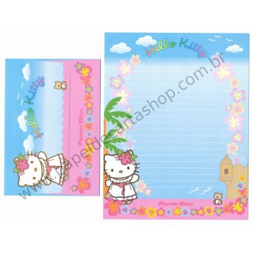 Ano 2003. Conjunto de Papel de Carta Hello Kitty Puerto Rico Sanrio