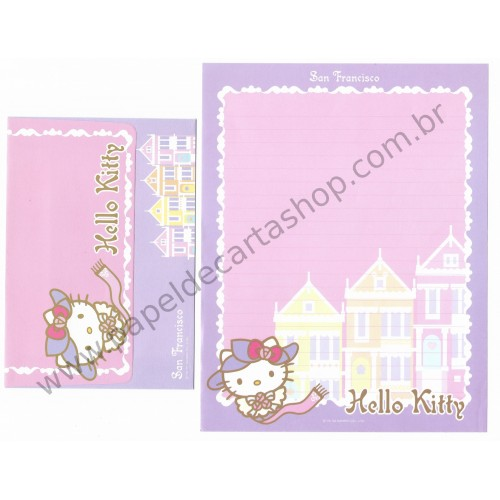 Ano 2003. Conjunto de Papel de Carta Hello Kitty San Francisco CLL Sanrio