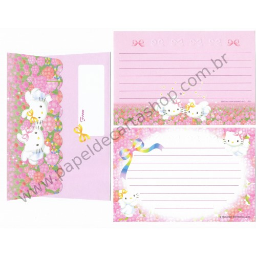 Ano 2004. Conjunto de Papel de Carta Hello Kitty - 30th Anniversary Dupla