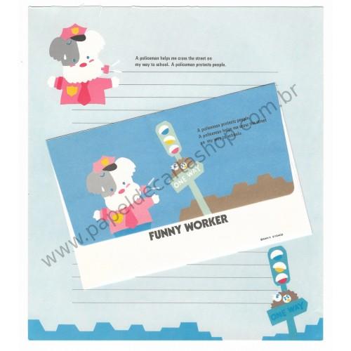 Conjunto de Papel de Carta Antigo (Vintage) Funny Worker CAZ - San-X Japan