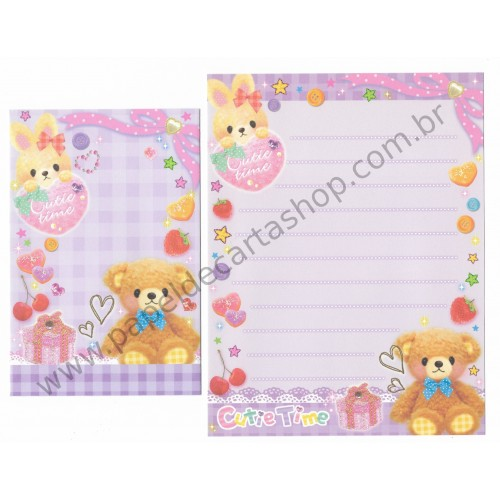 Kit 3 Conjuntos de Papel de Carta CUTIE TIME - Q-Lia Japan